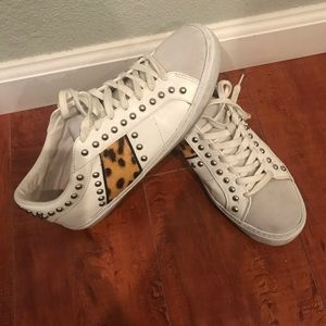 Zara white studded and leopard sneakers, 39